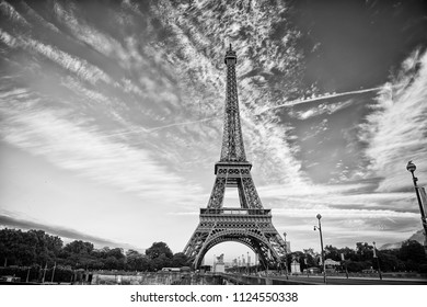 Eiffel Tower in Paris on beautiful autumn evening. Eifel tower is the symbol of Paris romantic and love