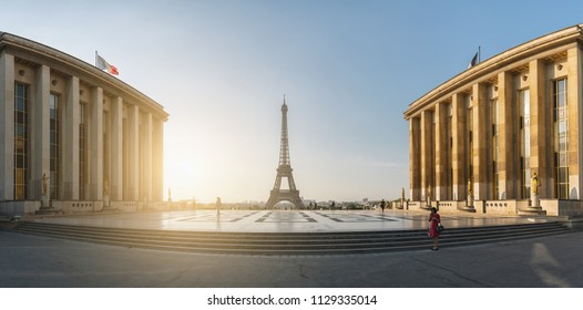 Eiffel Tower, Paris Panorama. View over the Tour Eiffel from Trocadero square (Place du Trocadero). Paris, France