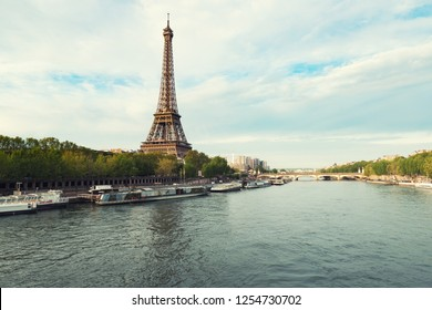 Eiffel tower in Paris from the river Seine in spring season. Paris, France.