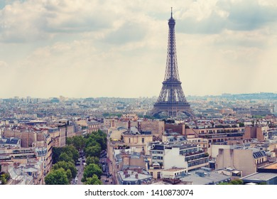 Eiffel Tower in Paris as seen from Arc de Triomphe