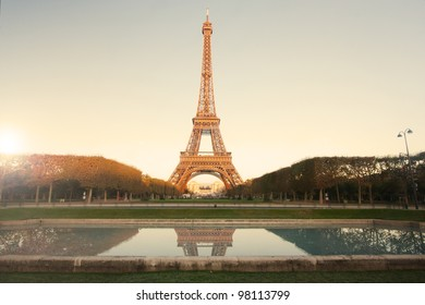 Eiffel Tower in Paris at sunrise