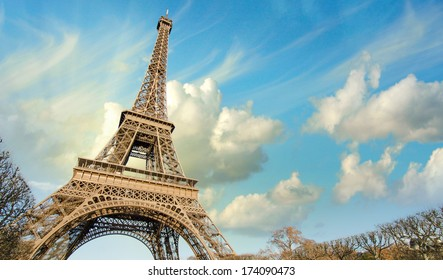 Eiffel Tower in Paris under a thunder-charged sky, France