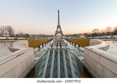 The Eiffel Tower, Paris. View from Trocadero Gardens on a beautiful winter afternoon.