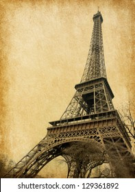 Eiffel tower. Photo in retro style. Paper texture.