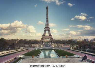 Eiffel Tower and Pont d'Iena seen from Trocadero Gardens. Paris. France