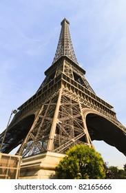 Eiffel Tower profile in Paris, France