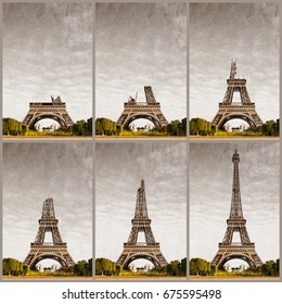 Eiffel Tower at progressive construction