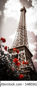 Eiffel tower and red rose shrub. Cross process. Sepia. Shadowed angles. Retro style postcard.