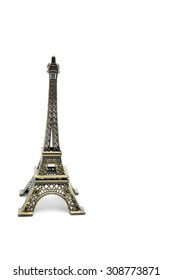 Eiffel tower replica on white background