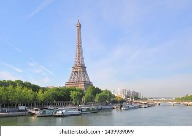 Eiffel tower and river Seine cityscape Paris France