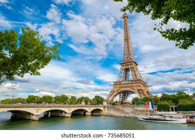 The Eiffel Tower and the river Seine on a beautiful summer day in Paris