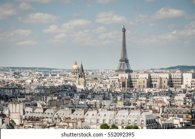 Eiffel Tower and rooftop of Paris