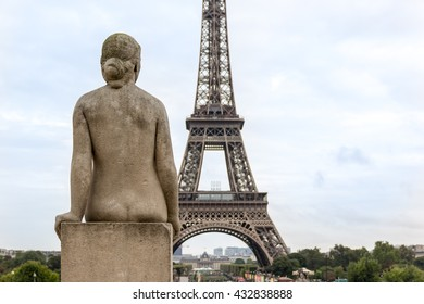 Eiffel Tower and Sculptures in Trocadero in Paris, France