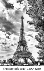 Eiffel Tower seen from along the Seine.