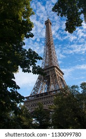 eiffel tower as seen between the trees