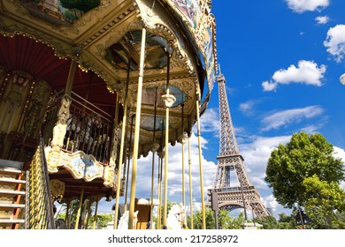 The Eiffel Tower seen from Trocadero carousel, Paris, France