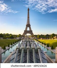The Eiffel Tower seen from Trocadero on sunrise, Paris, France.