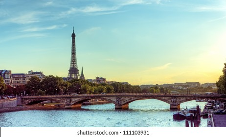 Eiffel tower and Seine river Panoramic view of city of Paris with Eiffel tower and bridge over Seine river, France.