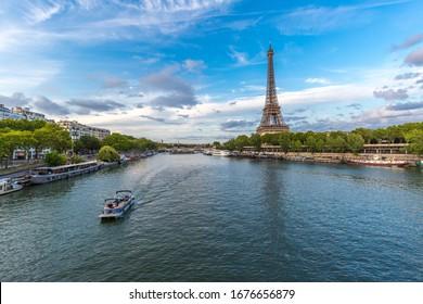 Eiffel tower with seine river in paris