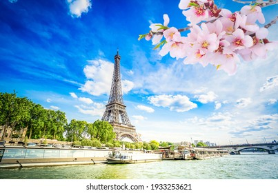 Eiffel Tower and Seine riverbank at spring day, Paris, France with sunshine