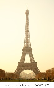 Eiffel tower sepia toned, Paris, France.