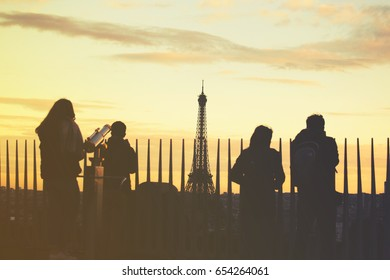 Eiffel Tower silhouette at sunset, The Eiffel tower is the most visited monument of France.