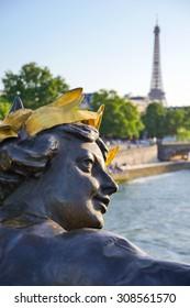 Eiffel Tower since Alexandre III Bridge in Paris, France