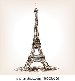 Eiffel Tower sketch style raster illustration. Old engraving imitation. Eiffel Tower landmark hand drawn sketch imitation