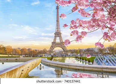 Eiffel Tower in the spring morning in Paris, France. Romantic travel background.