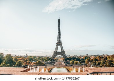 Eiffel Tower Street view, holiday sunrise, Paris 2018