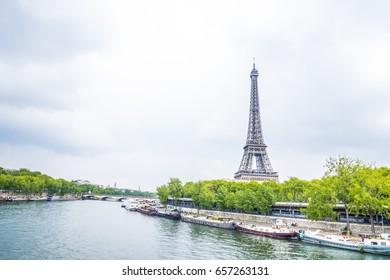 Eiffel Tower at sunrise in Paris, France. Romantic travel background