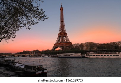 Eiffel tower at sunset. It is the most popular travel place and global cultural icon of the France and the world.