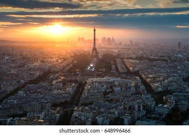 Eiffel Tower at sunset in Paris, France. Travel  destination background.
