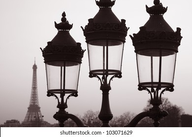 Eiffel Tower and Three Lampposts, Paris, France in Black and White Sepia Tone
