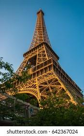 Eiffel Tower Tour Eiffel blue sky steel structure in evening sunset sunlight