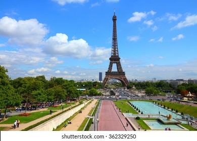 Eiffel Tower and Trocadero Gardens in Paris, France.