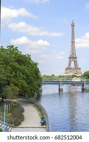 Eiffel tower, view from the bridge near the Swan Islands.
