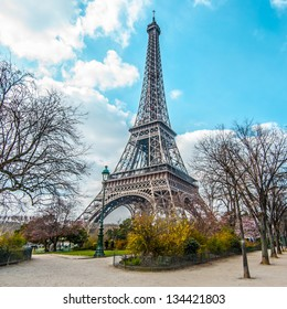 Eiffel tower, view from Champ de Mars in Paris, France