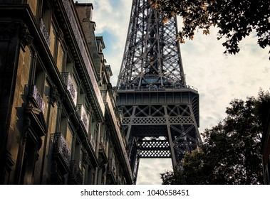 Eiffel tower viewed from the street