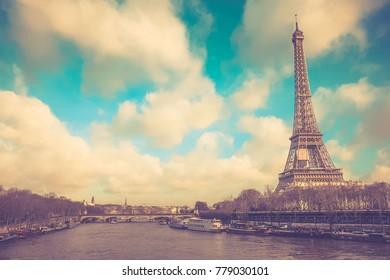 Eiffel tower in vintage