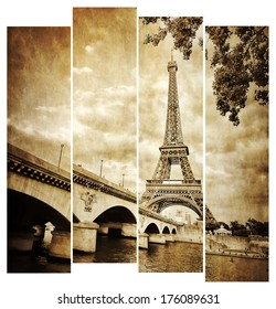 Eiffel tower vintage retro in stripes, from Seine river, Paris, France