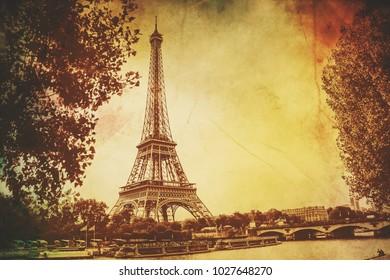 Eiffel Tower, vintage. Selective focus.