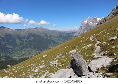 Eiger Trail/ Grindelwald/ Switzerland - September 9th 2018 : Hiking in the Eiger trail