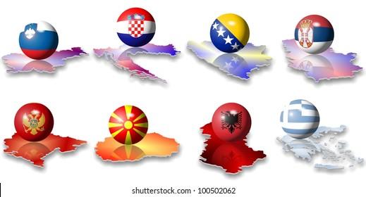 eight Balkan European flags in a shape of a ball / European flags Balkan
