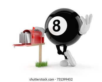 Eight ball character with mailbox isolated on white background