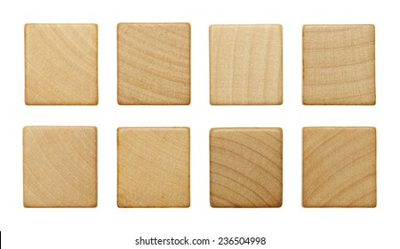 Eight Blank Wood Scrabble Pieces Isolated on White Background.