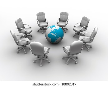 Eight chairs surrounding Earth globe - rendered in 3d