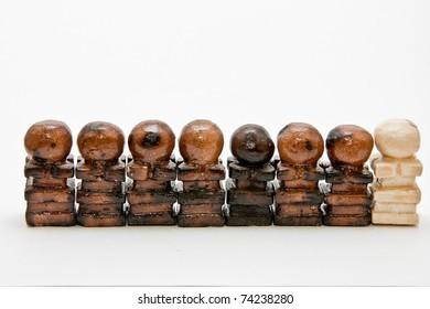 Eight chalk chess pawn pieces