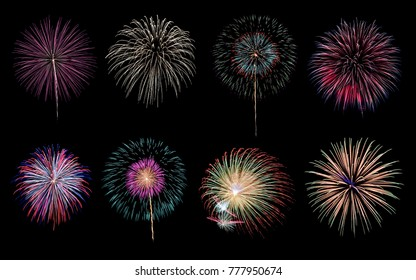 Eight colorful fireworks on black background