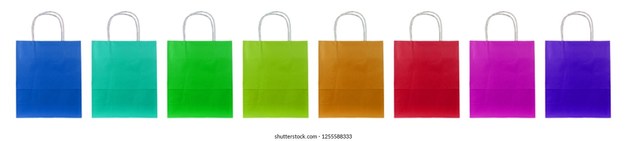 Eight colorful paper bags stand side by side.